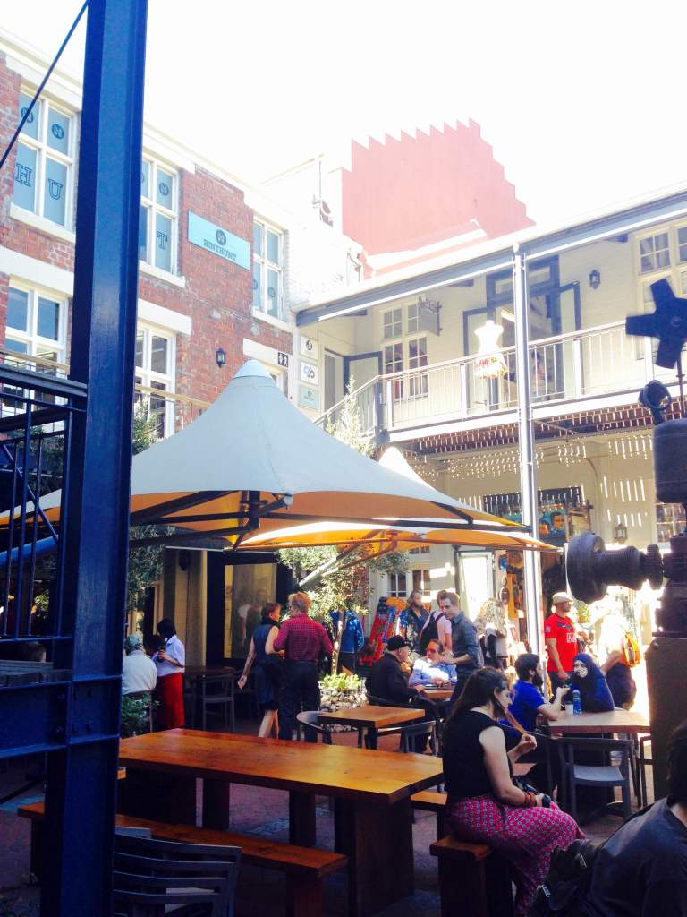 The crafts courtyard at the Biscuit Market