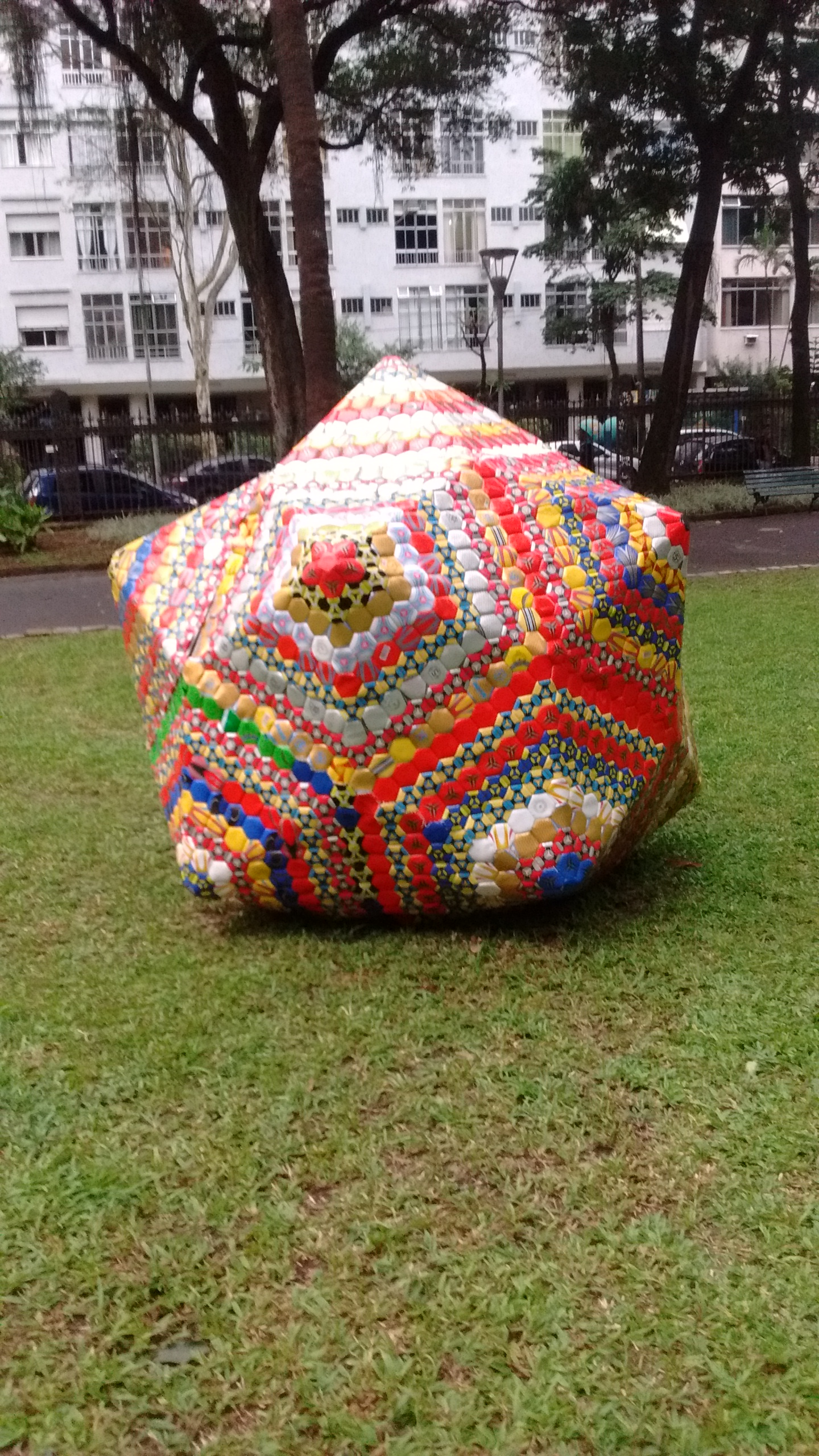 Giant soccer ball made from soccer balls at the botanical gardens