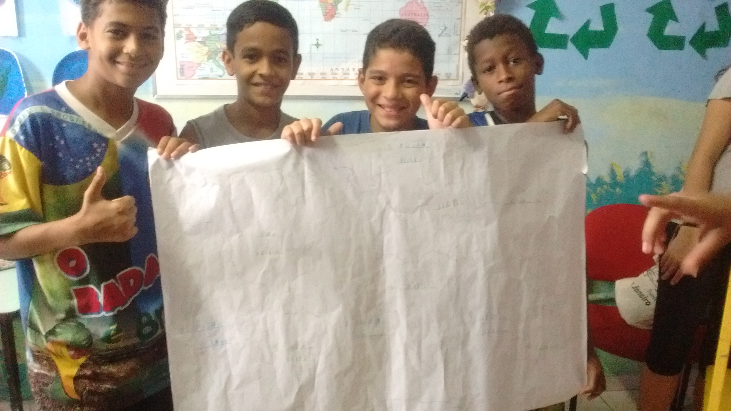 A group with their world map
