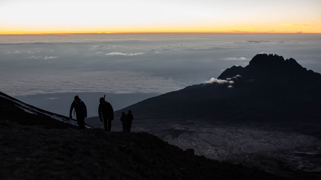 Approaching the summit at dawn.