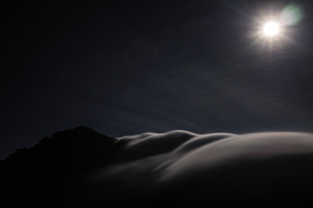 Moonrise over Mt. Meru. Those streaks of cloud were what we were about to enter.