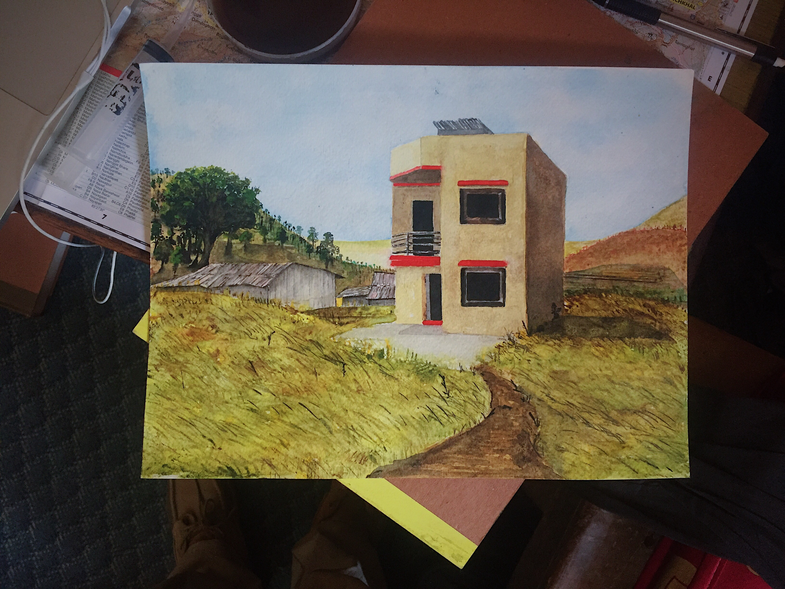 I later painted a watercolor version of one of the homes.