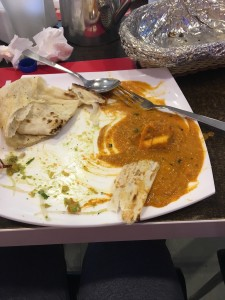 This is shahi paneer with roti, not a great picture, but it is yummy food!
