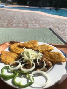 Poolside lunch of griot (pork) and plantains!