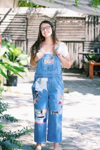 Me in my new 2nd Story overalls! Made out of up-cycled fabric that is shipped in tons from developed countries to Haiti. I had the pleasure of pushing our latest batch of clothing to the finish line as one of my first big projects as the marketing director!